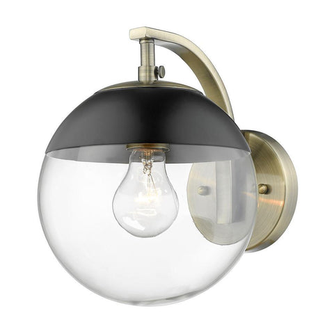 Dixon Sconce in Aged Brass with Clear Glass and Black Cap