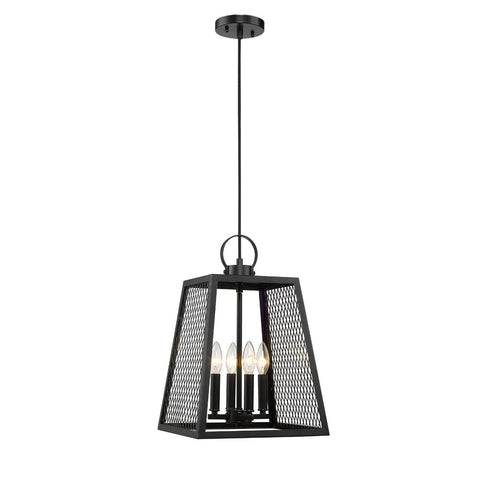 Abbott 4 Light Pendant in Black with Black Mesh Panels