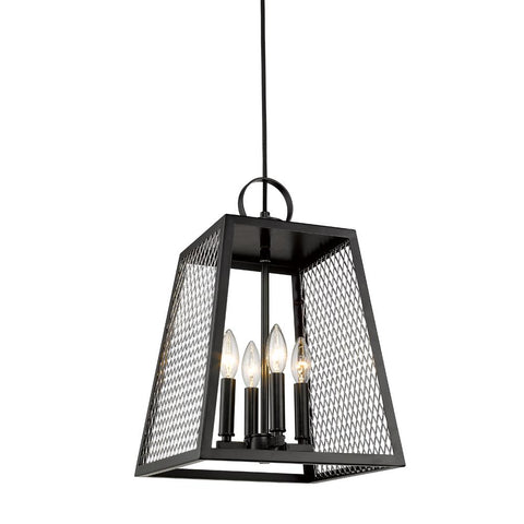 Abbott 4 Light Pendant in Black with Chrome Mesh Panels