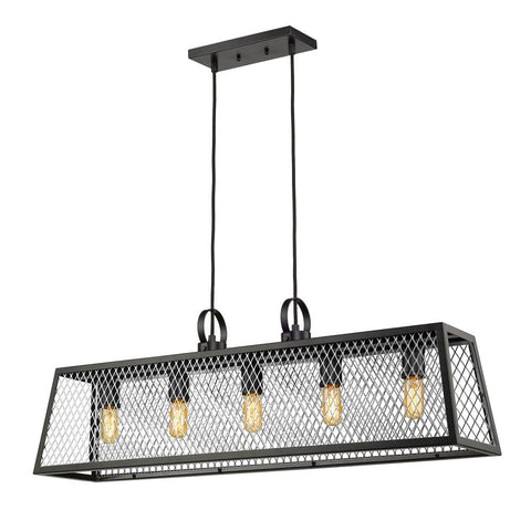 Abbott Linear Pendant in Black with Chrome Mesh Panels Ceiling Golden Lighting