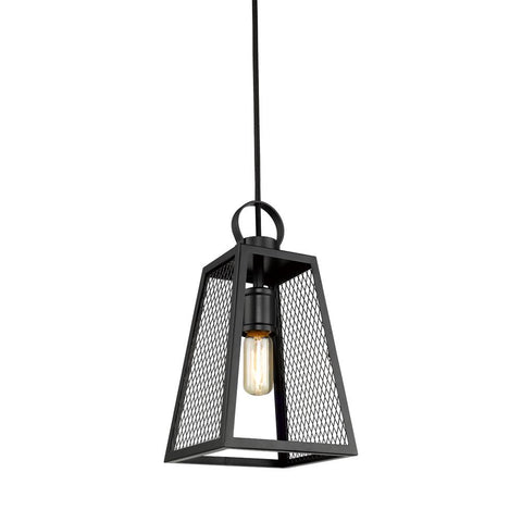 Abbott Medium Pendant in Black with Black Mesh Panels