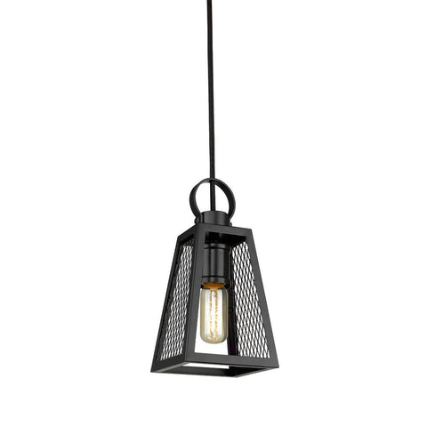 Abbott Small Pendant in Black with Black Mesh Panels Ceiling Golden Lighting