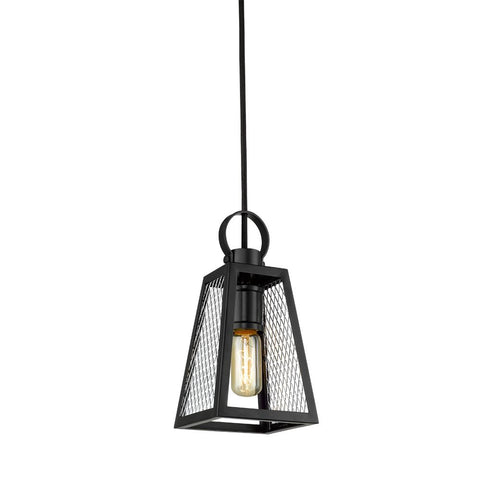 Abbott Small Pendant in Black with Chrome Mesh Panels