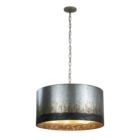 Cannery 4-Lt Drum Pendant - Ombre Galvanized Ceiling Varaluz