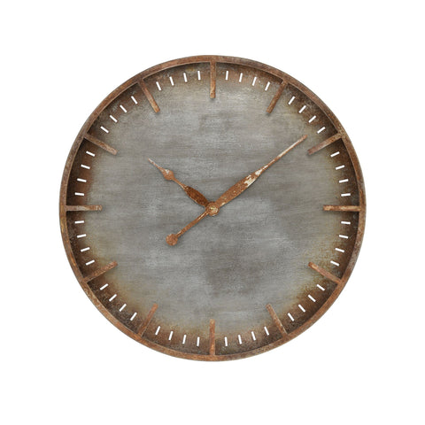 Ironhull Wall Clock in Rusted Pewter and Rust