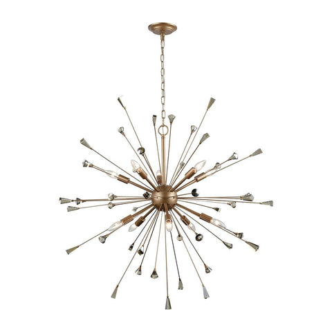 Elk Lighting Sprigny 10 Light Chandelier In Matte Gold With Amber Teak Crystal