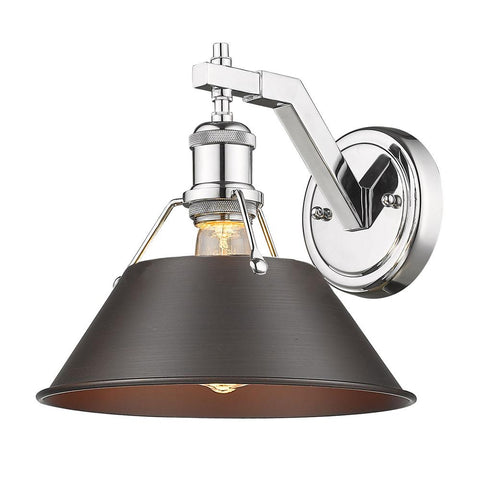 "Orwell 10""h Wall Sconce in Chrome with Rubbed Bronze Shade"