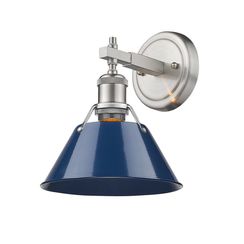 "Orwell 7""w Sconce/Bath Vanity in Pewter with Navy Blue Shade"