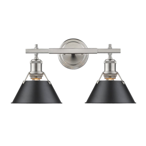 Golden Lighting Orwell PW 2 Light Bath Vanity in Pewter with Black Shade
