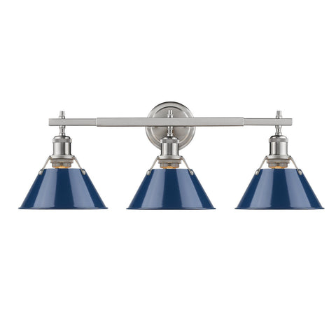 Golden Lighting Orwell PW 3 Light Bath Vanity in Pewter with Navy Blue Shades
