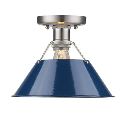 "Orwell 10""w Pewter Flush Mount with Navy Blue Shade"