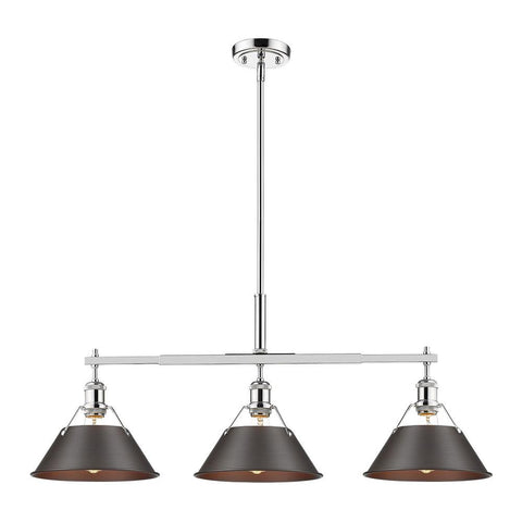 "Orwell 36""w Linear Pendant in Chrome with Rubbed Bronze Shade Ceiling Golden Lighting"
