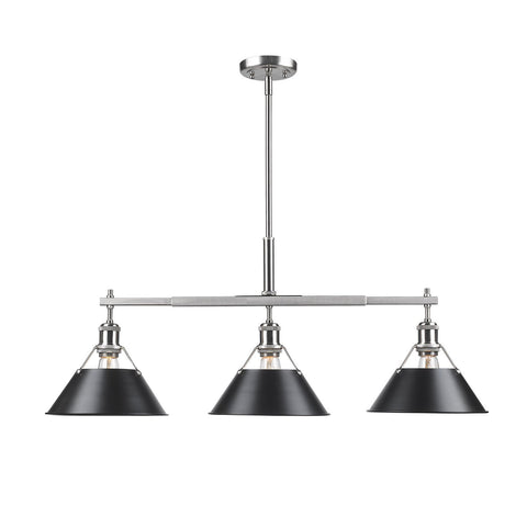Orwell Linear Pendant in Pewter with Black Shade Ceiling Golden Lighting
