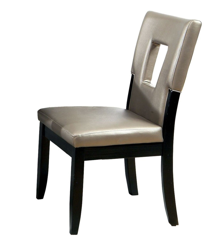 Cal Keyhole Leatherette Dining Chair Black (Set of 2)
