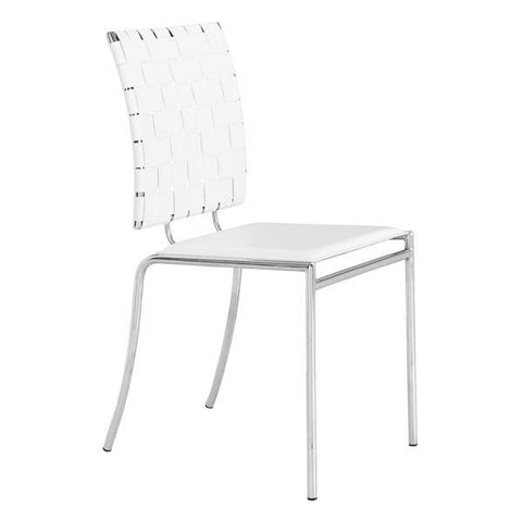 Criss Cross Dining Chair White (Set of 4) Furniture Zuo