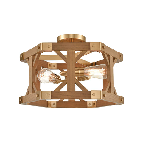 Structure 3-Light Semi Flush in Satin Brass and Medium Oak