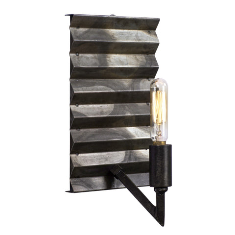 Flynne 1-Lt Wall Corrugated Galvanized Wall Varaluz