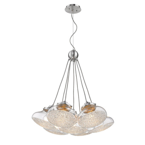 Asha 7 Light Pendant in Pewter with Crushed Crystal Glass Ceiling Golden Lighting