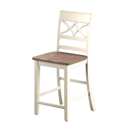 Posie Two-Tone Counter Chair Vintage White & Cherry (Set of 2) Furniture Enitial Lab