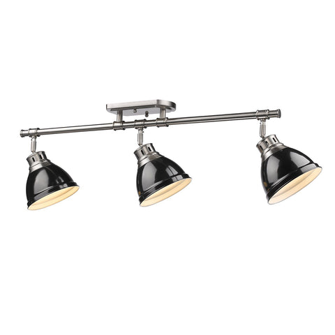 Golden Lighting Duncan 3 Light Semi-Flush - Track Light in Pewter with Black Shades