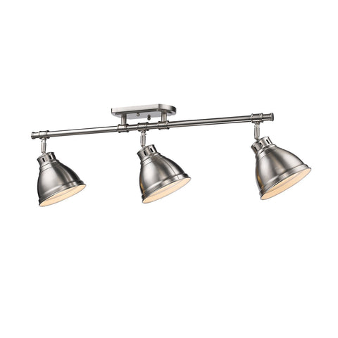 Duncan 3 Light Semi-Flush - Track Light in Pewter with Pewter Shades Tracks Golden Lighting