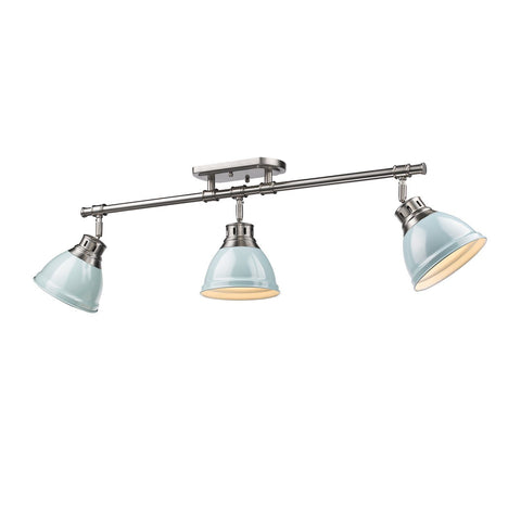 Golden Lighting Duncan 3 Light Semi-Flush - Track Light in Pewter with Seafoam Shades