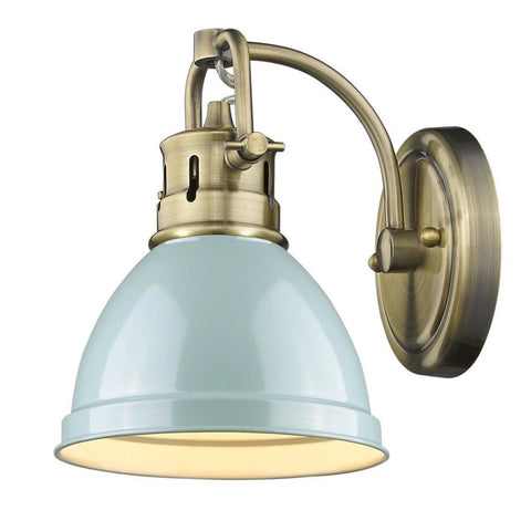 Duncan 1 Light Bath Vanity in Aged Brass with Seafoam Shade