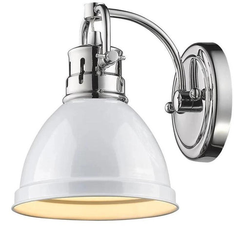 Duncan 1 Light Bath Vanity in Chrome with a White Shade