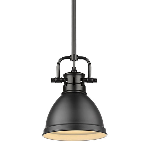 "Duncan 6""w Black Rod Mini Pendant with Matte Black Shade"