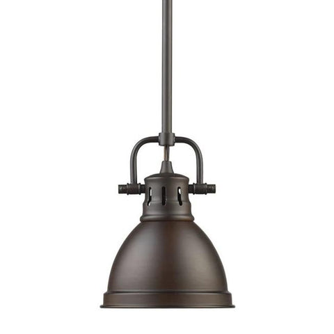 Duncan Mini Pendant with Rod in Rubbed Bronze with Rubbed Bronze Shade