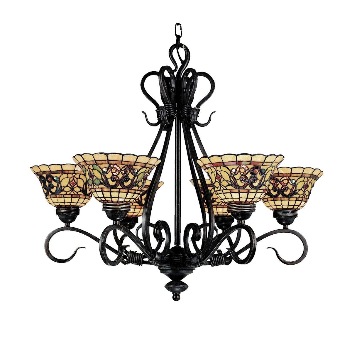 Tiffany Buckingham 6 Light Chandelier In Vintage Antique Ceiling Elk Lighting
