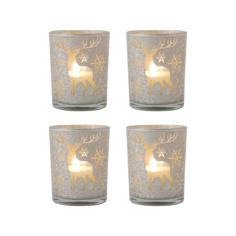 Reindeer Set of 4 Pillar Holders Accessories Pomeroy