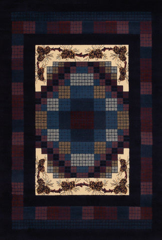 "Manhattan Collection Rug - Gingham Pine Navy 7'10"" x 10'6"" Rugs United Weavers Large 7'10"" x 10'6"""