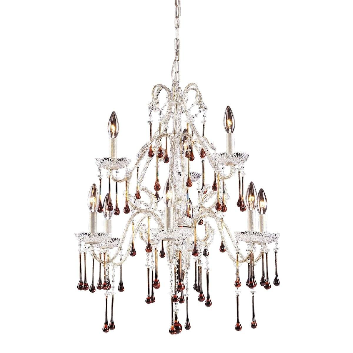 Opulence 9 Light Chandelier In Antique White And Amber Crystal Ceiling Elk Lighting