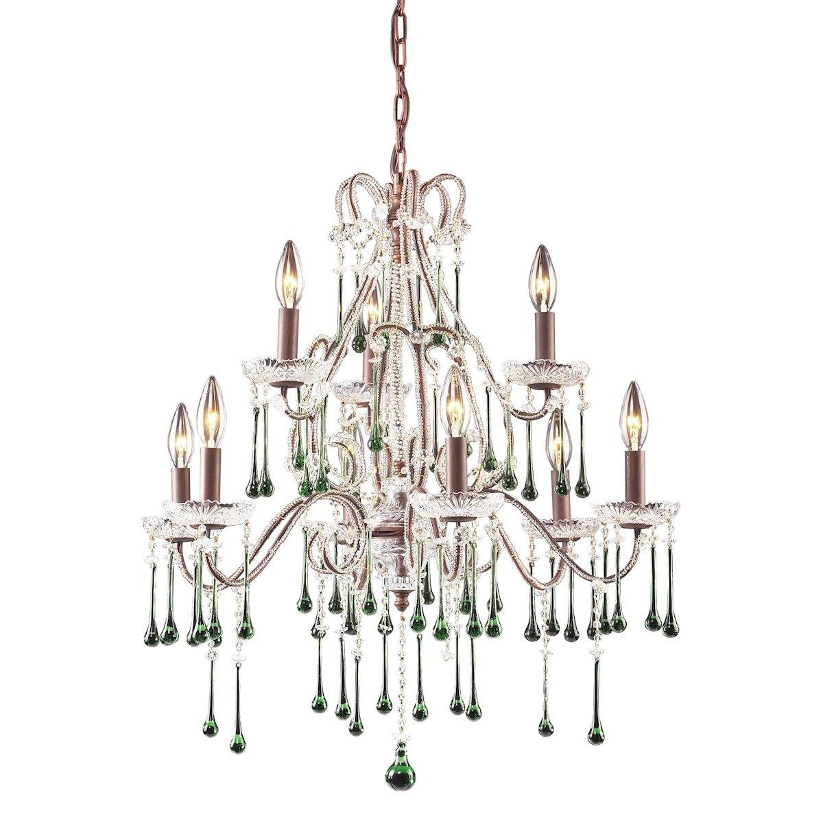 Opulence 9 Light Chandelier In Rust And Lime Crystal Ceiling Elk Lighting