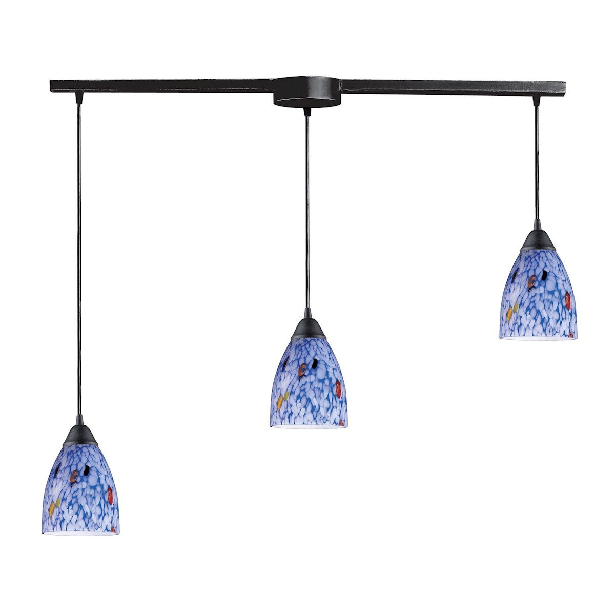 Classico 3 Light Pendant In Dark Rust And Starburst Blue Glass Ceiling Elk Lighting