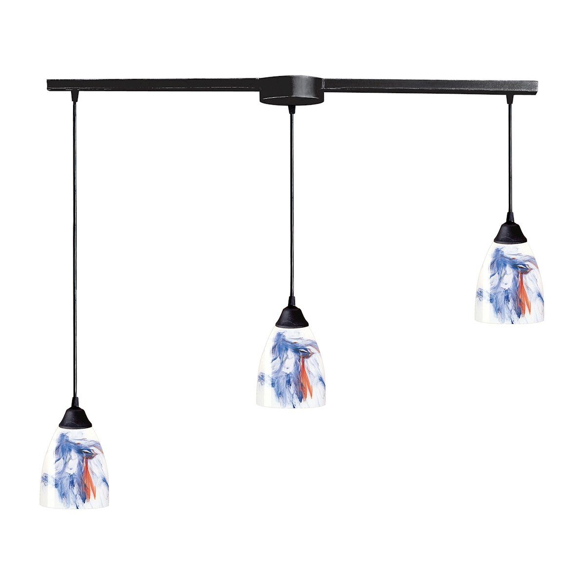 Classico 3 Light Pendant In Dark Rust And Mountain Glass Ceiling Elk Lighting