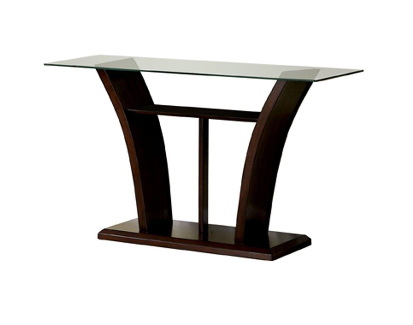 Lolan Flared Glass Top Sofa Table Dark Cherry Furniture Enitial Lab