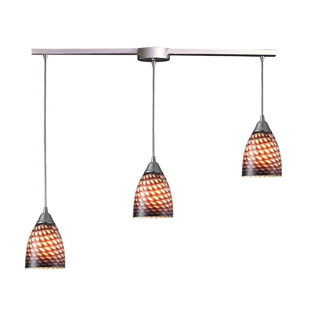 Arco Baleno 3 Light Pendant In Satin Nickel And Coco Glass Ceiling Elk Lighting