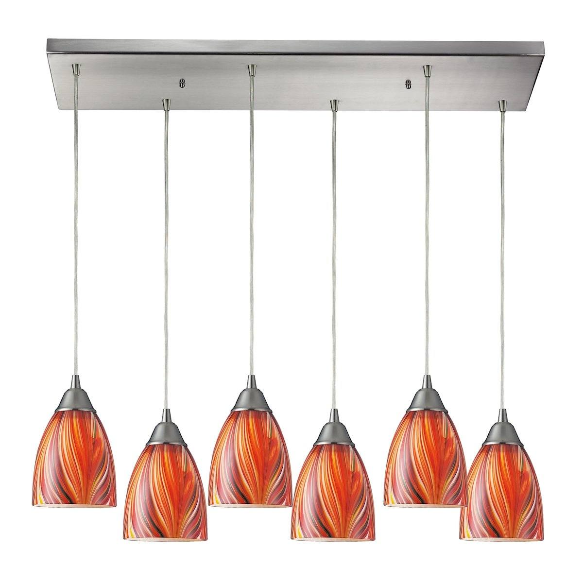 Arco Baleno 6 Light Pendant In Satin Nickel Ceiling Elk Lighting