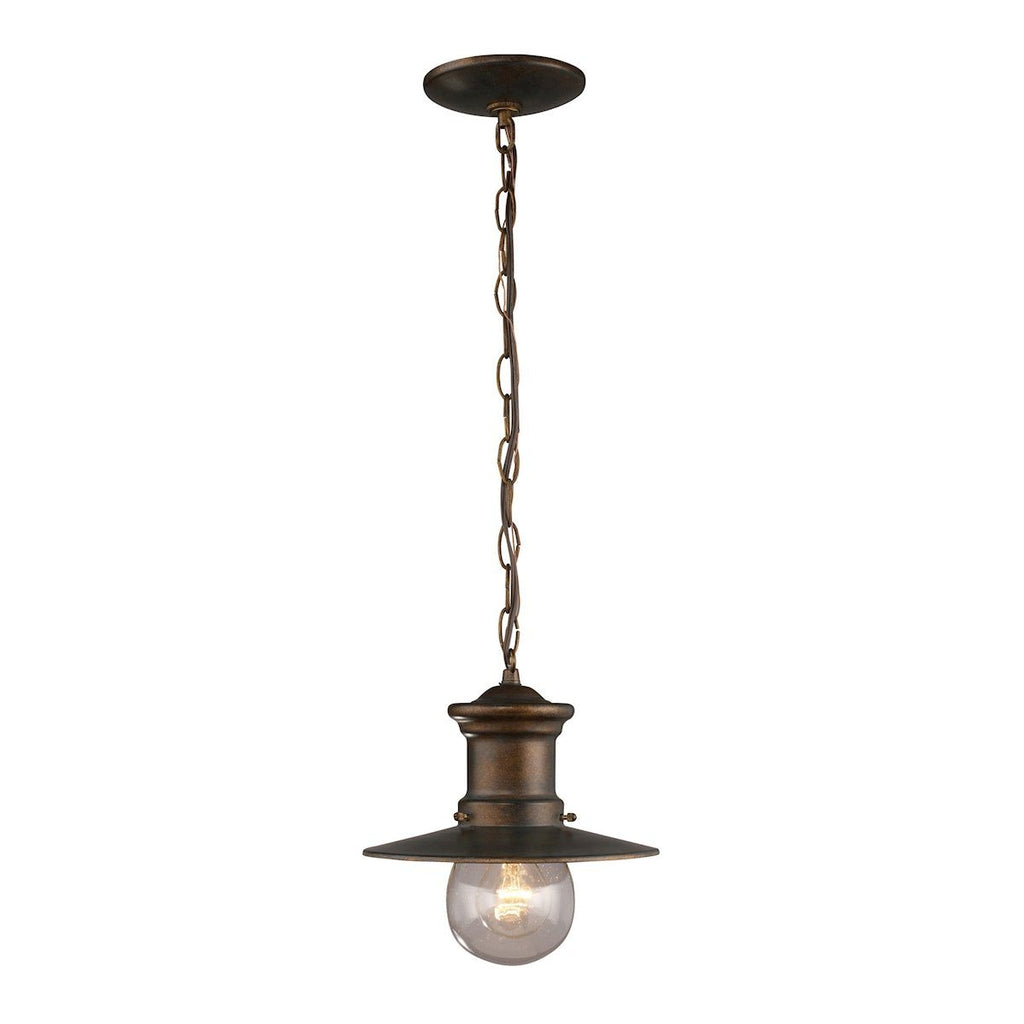 Maritime 1 Light Outdoor Pendant In Hazlenut Bronze Outdoor Elk Lighting