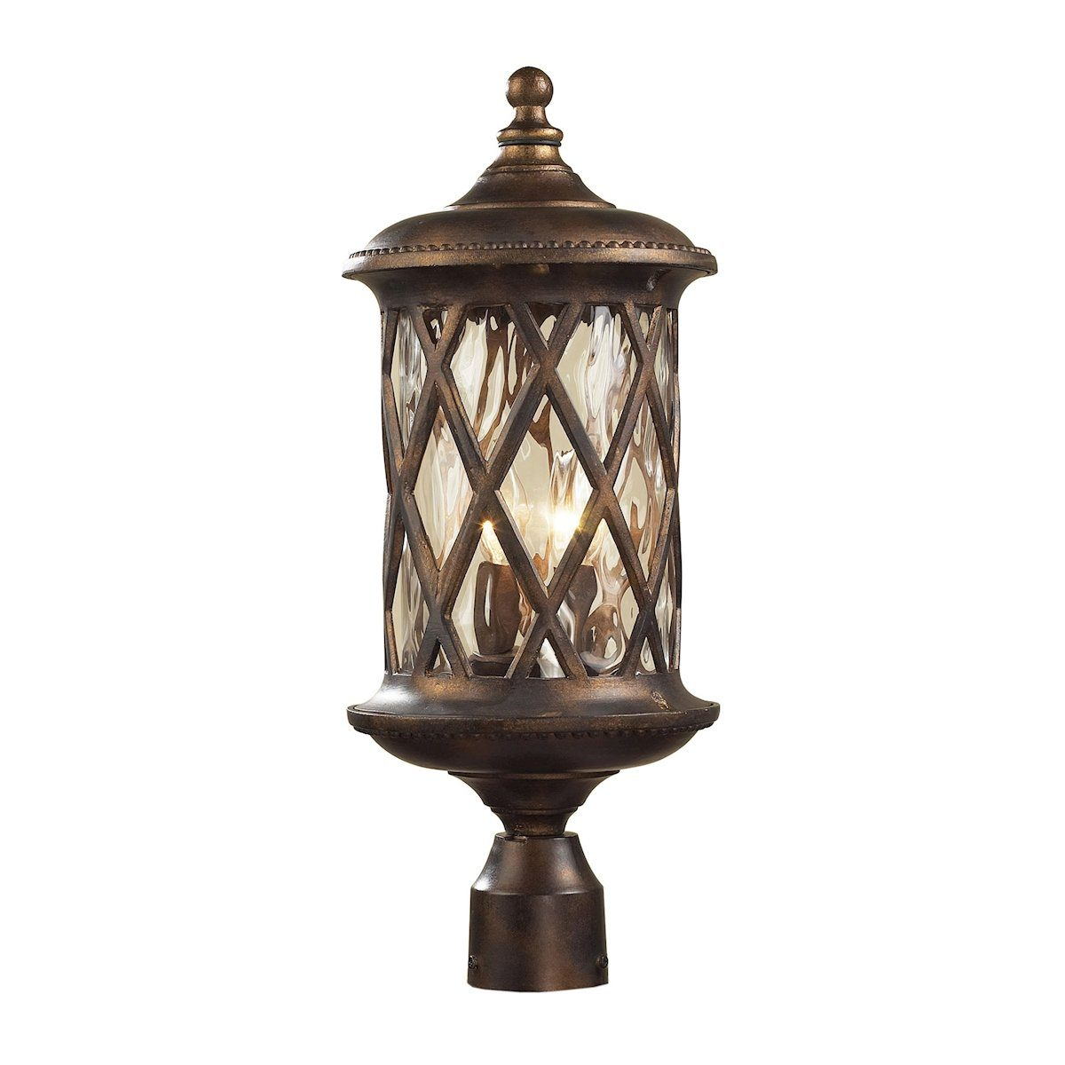 Barrington Gate 2 Light Outdoor Post Lamp In Hazlenut Bronze And Designer Water Glass Outdoor Post Elk Lighting