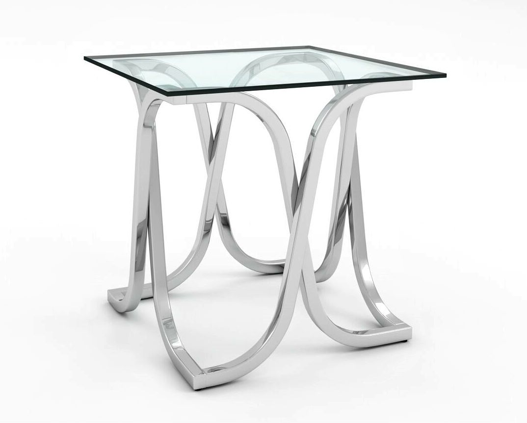 Loreane Glass Top End Table Chrome Furniture Enitial Lab