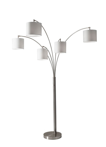 Trinity 5 Arm Arc Lamp - Steel Lamps Adesso