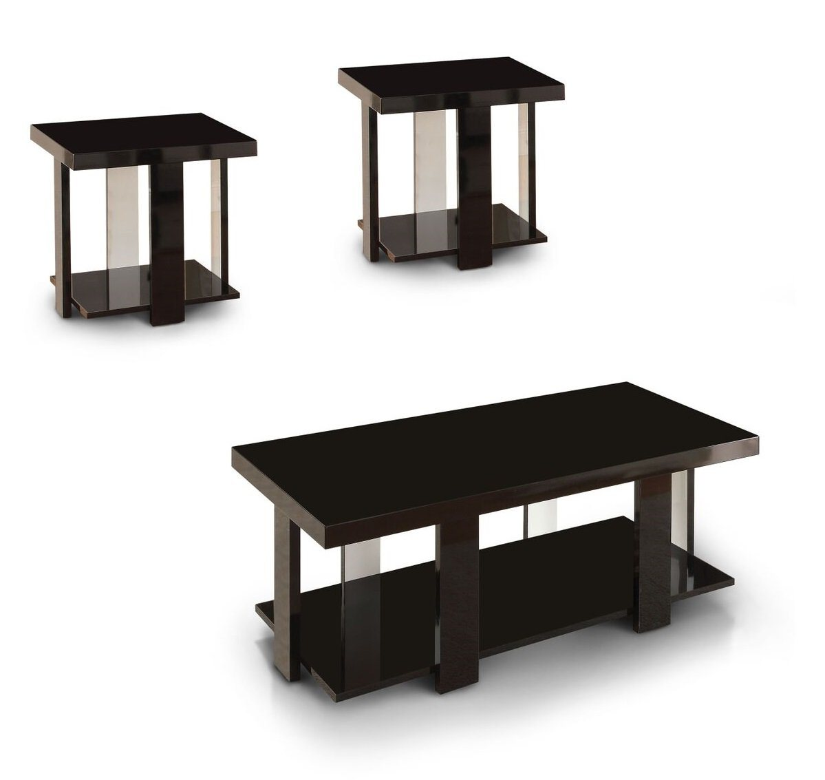 Kellan Modern Two-Tone 3-Piece Accent Table Set Black Furniture Enitial Lab