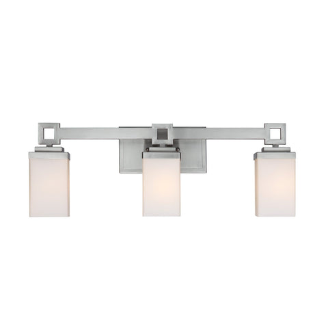 Nelio 3 Light Bath Vanity in Pewter with Cased Opal Glass Wall Golden Lighting