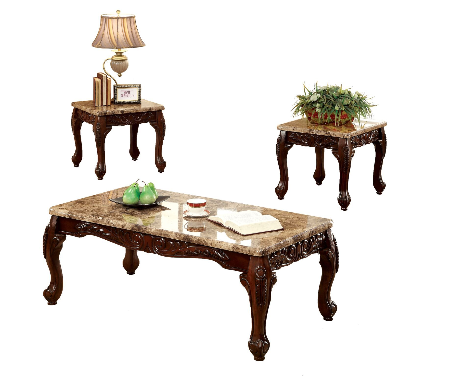 Debra 3-Piece Accent Table Set Dark Oak Furniture Enitial Lab