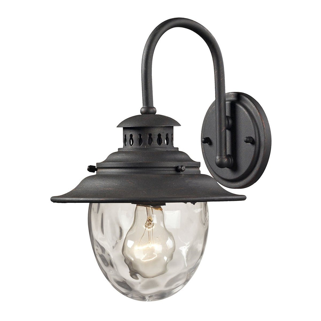 Searsport 1 light Outdoor Sconce In Weathered Charcoal Outdoor Wall Elk Lighting