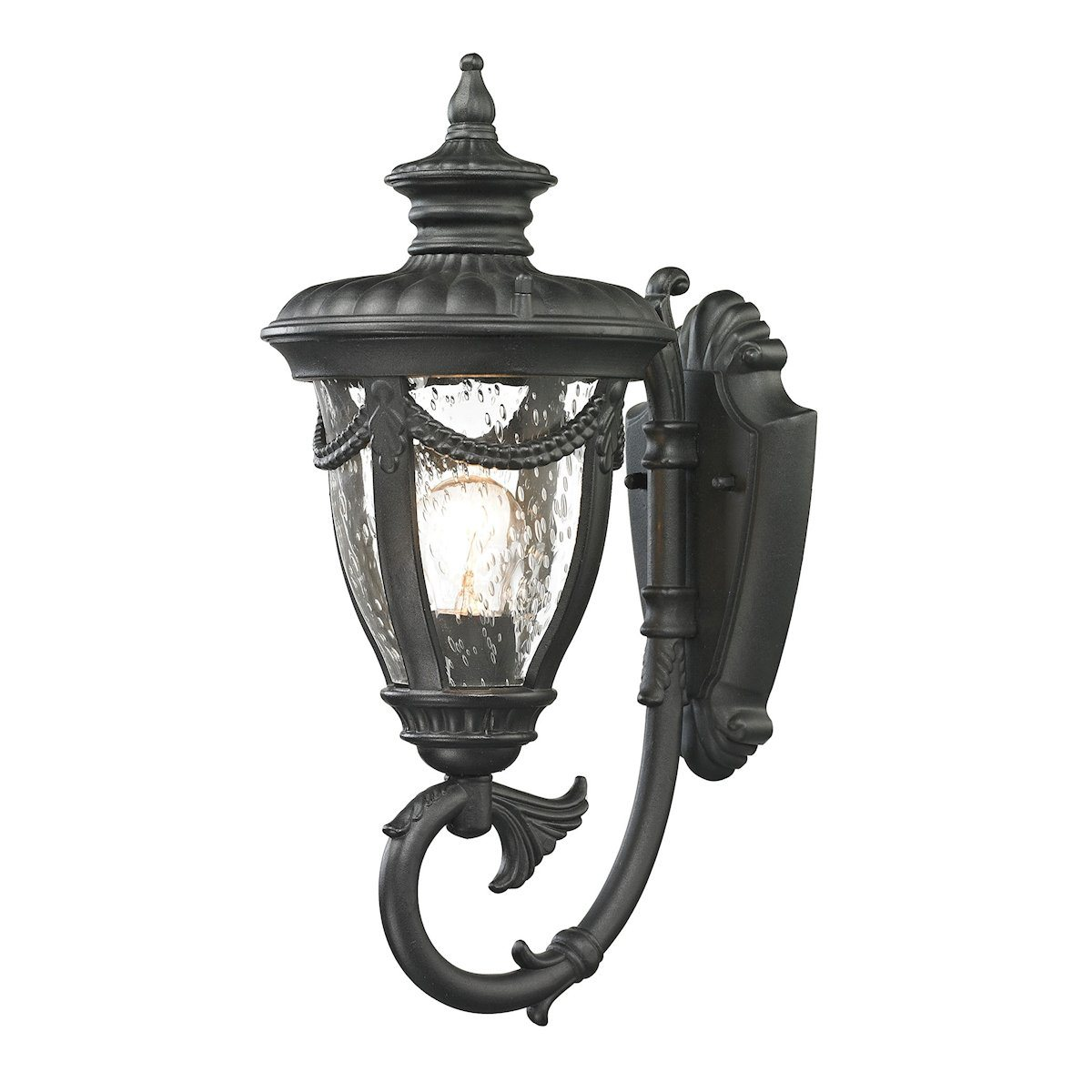 Anise 1 Light Outdoor Sconce In Textured Matte Black Outdoor Wall Elk Lighting