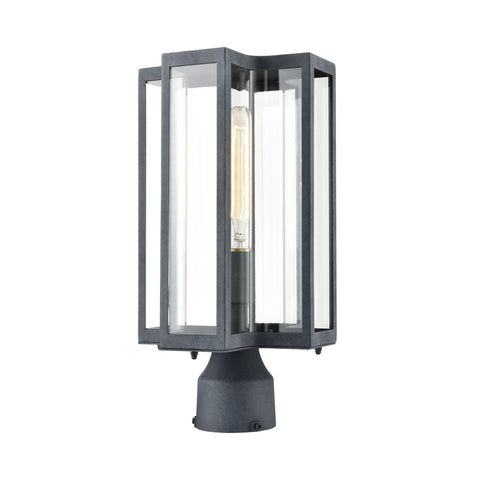 Bianca 1-Light Post Mount in Aged Zinc with Clear Outdoor Elk Lighting
